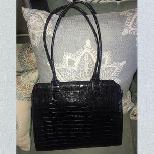Karen Callan crocodile embossed black leather bag